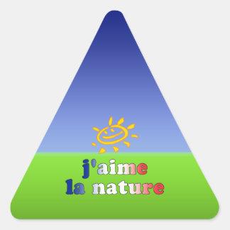 J'aime La Nature I Love Nature in French Triangle Sticker