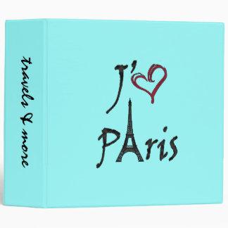 j'aime Paris 3 Ring Binder