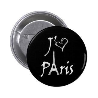 j'aime París Pin Redondo De 2 Pulgadas