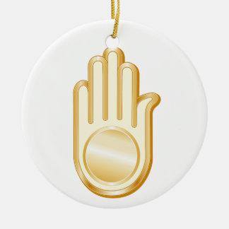 Jain Symbol Ceramic Ornament