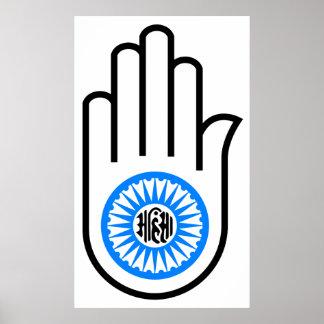 Jainism Symbol Hand and Wheel Reading Ahimsa Poster