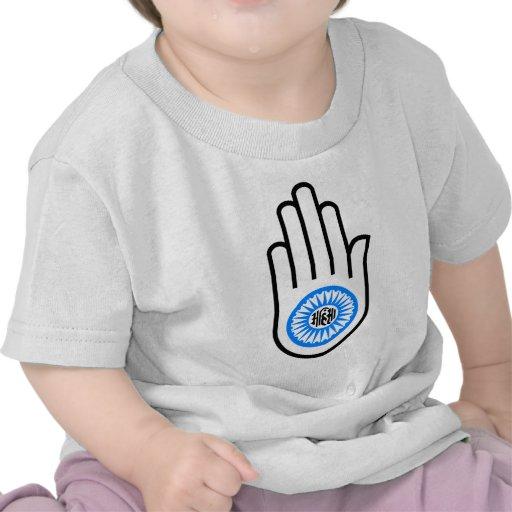 Jainism Symbol Hand and Wheel Reading Ahimsa Tshirts