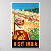 Jaipur Visit India Vintage Travel Poster Restored