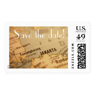 JAKARTA Vintage Map Save the Date Postage