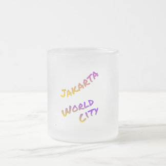 Jakarta world city, Indonesia colorful text art Frosted Glass Coffee Mug