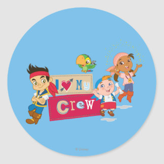 Jake and the Never Land Pirates | I Love My Crew Classic Round Sticker