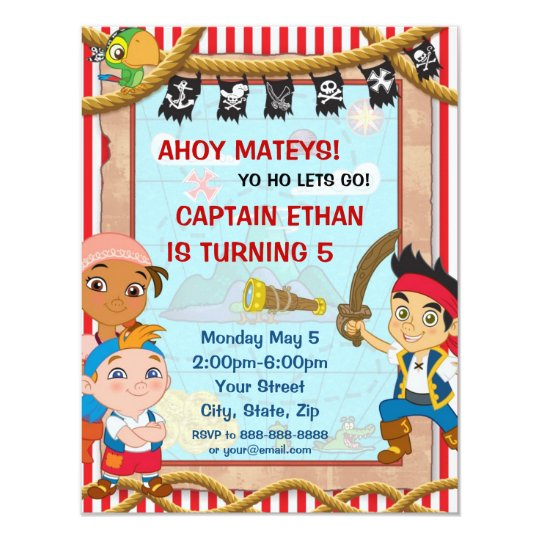 jake and the neverland pirates birthday invitation zazzle com
