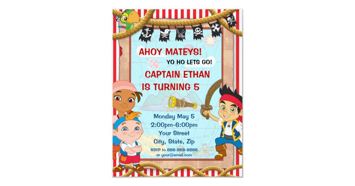 Jake and the Neverland Pirates Birthday Invitation | Zazzle.com