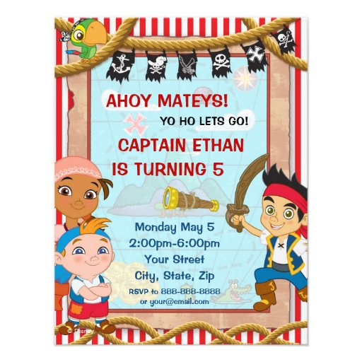 Jake and the neverland pirates party invitations - photo#7