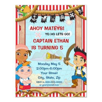 Jake and the Neverland Pirates Birthday Invitation 4.25