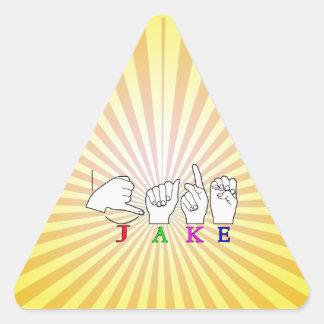JAKE ASL FINGERSPELLED NAME SIGN MALE TRIANGLE STICKER