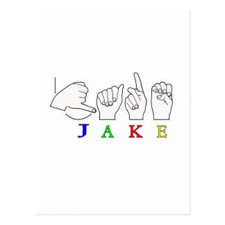 JAKE FINGERSPELLED NAME ASL SIGN POSTCARD
