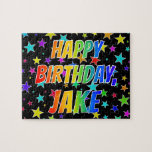 "[ Thumbnail: ""Jake"" First Name, Fun ""Happy Birthday"" Jigsaw Puzzle ]"
