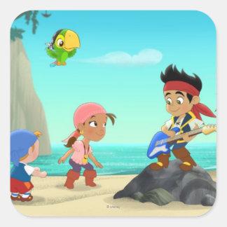 Jake y los piratas 2 de Neverland Pegatina Cuadrada