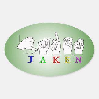 JAKEN FINGERSPELLED NAME ASL SIGN OVAL STICKER