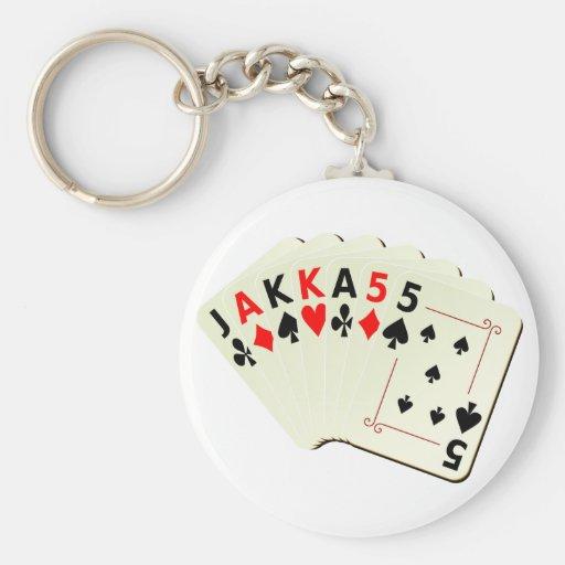 JAKKA55 Cards Basic Round Button Keychain