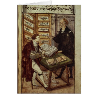 Jakob Fugger in his office, 1518 Card