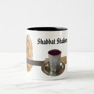 Jalá, cuchillo, vino, y velas de Shabbat Taza De Dos Tonos