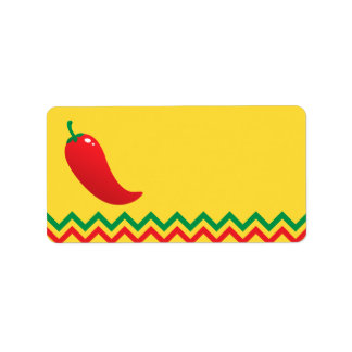 Jalapeno de la pimienta de chile rojo con la etiqueta de dirección