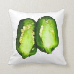 Jalapeno Pepper Two halves green pepper design Throw Pillow