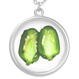 Jalapeno Pepper Two halves green pepper design Round Pendant Necklace