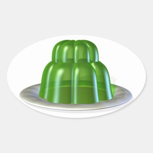 Jalea verde en los pegatinas de una placa pegatina ovalada