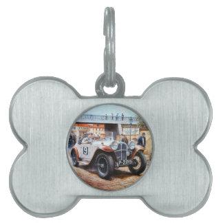 Jalopy racingcar painting pet name tag