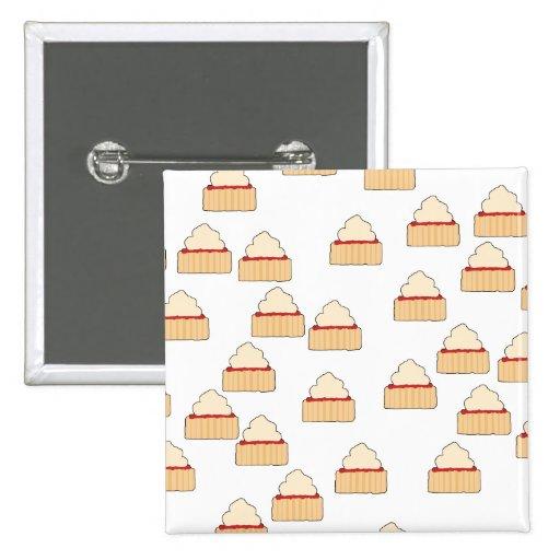 Jam and Cream Scone pattern. 2 Inch Square Button