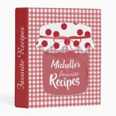 Jam and Gingham Personalised Recipes Mini Binder