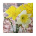 Jam Jar Vase Full Of Daffodils Ceramic Tiles