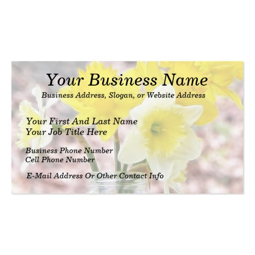 Jam Jar Vase Full Of Daffodils Double-Sided Standard Business Cards (Pack Of 100)