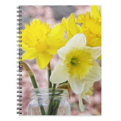Jam Jar Vase Full Of Daffodils Notebook