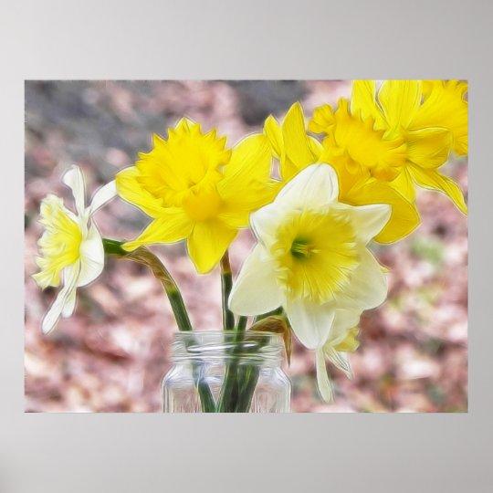 Jam Jar Vase Full Of Daffodils Poster
