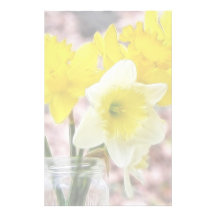 Jam Jar Vase Full Of Daffodils Stationery Design