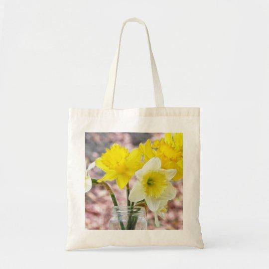 Jam Jar Vase Full Of Daffodils Tote Bag