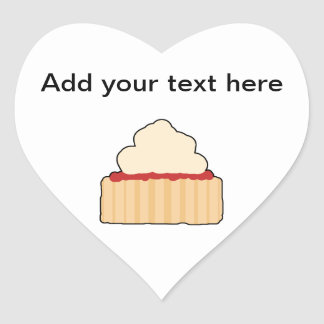 Jam Scone with Cream Topping. Heart Sticker