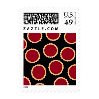 Jam Tart Pattern. Deep Raspberry Red. Postage Stamps