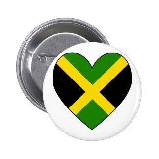 Jamacian Heart Flag Pinback Button
