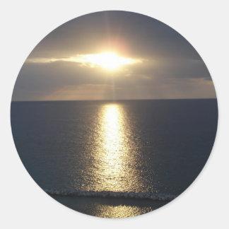 jamacian sunset round sticker