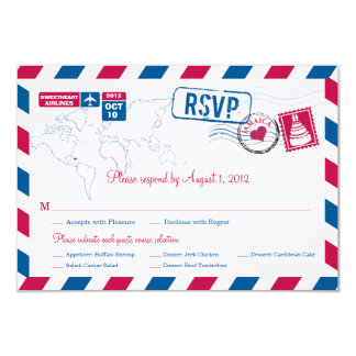 JAMAICA Air Mail Wedding RSVP Card