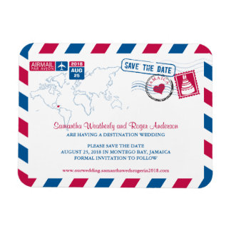Jamaica Air Mail Wedding Save the Date 3x4 Rectangular Photo Magnet