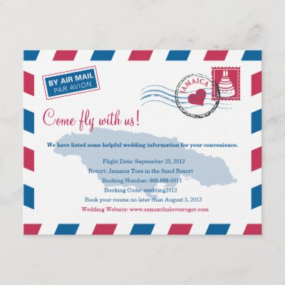 Jamaica Air Mail Wedding Travel Information Enclosure Card