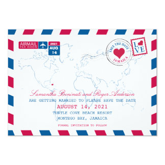 Jamaica AirMail Wedding Save the Date Card