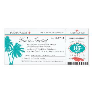 JAMAICA Boarding Pass Birthday 4x9.25 Paper Invitation Card