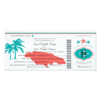 Jamaica Boarding Pass Wedding 4x9.25 Paper Invitation Card