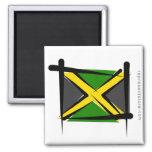 Jamaica Brush Flag 2 Inch Square Magnet