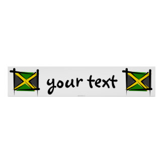 Jamaica Brush Flag Banner Print