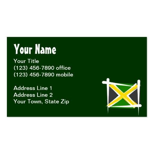 Jamaica Brush Flag Business Card Template