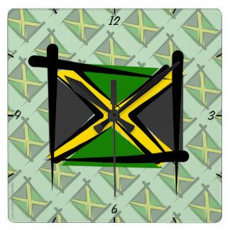 Jamaica Brush Flag Clock