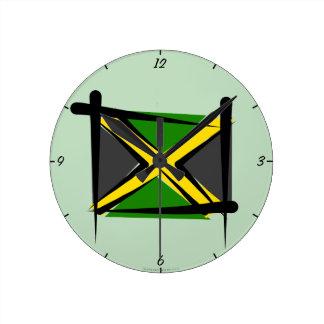 Jamaica Brush Flag Clocks